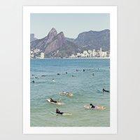 Ipanema Beach Surfers Art Print