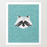 Geometric Racoon Art Print