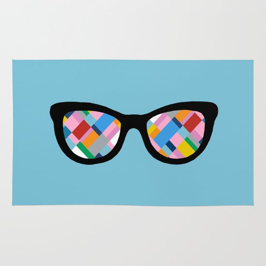 Map 45 Glasses on Sky Blue Area & Throw Rug