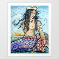 Mermaid at Play Art Print