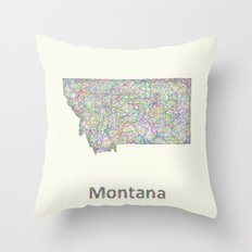 Montana Map Throw Pillow