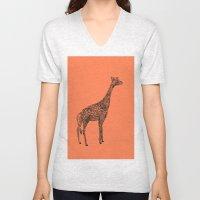 Designer Giraffe Coral Unisex V-Neck