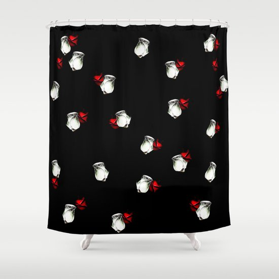 White And Red Roses On Black Background Shower Curtain By Gravityx9 Society6