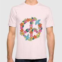 Flower Peace Sign Mens Fitted Tee Light Pink SMALL