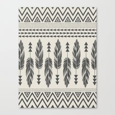 Tribal Feathers-Black & Cream Canvas Print