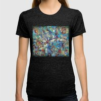 Dragonflies In Blue Womens Fitted Tee Tri-Black SMALL