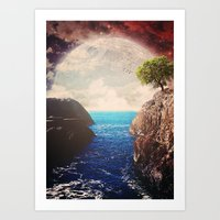 Where the moon meets the sea Art Print