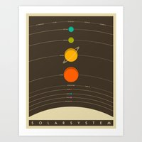 typography Art Prints featuring Solar System by Jazzberry Blue