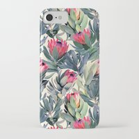 floral iPhone & iPod Cases featuring Painted Protea Pattern by micklyn
