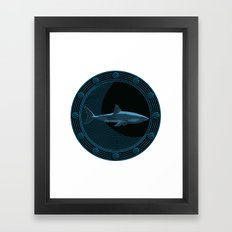 Engraved Shark Framed Art Print