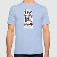 Love Destiny - Thomas Merton Mens Fitted Tee Tri-Blue SMALL