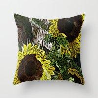 For The Sake Of Sunflowe… Throw Pillow