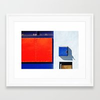 Red, blue, white shapes Framed Art Print