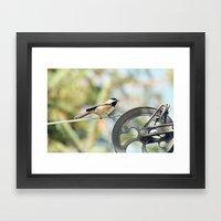 Chick on a line Framed Art Print