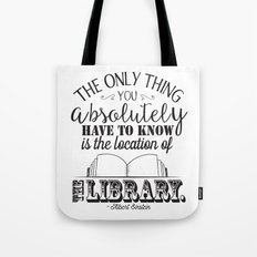 Location of the Library B&W Tote Bag