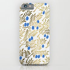 Olive Branches – Gold & Blue iPhone 6 Slim Case
