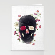 Skull Grunge Flower Stationery Cards