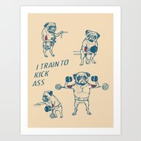 Pug Workout Art Print