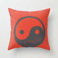 yin yang smiley ;-( Throw Pillow