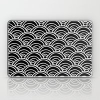 Waves All Over - White on Black Laptop & iPad Skin