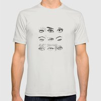 Many Eyes Mens Fitted Tee Silver SMALL