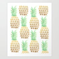 24K Gold Pineapples Art Print