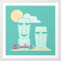 Easter Island Summer Fun Art Print