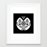 Priest Circle- black on black Framed Art Print