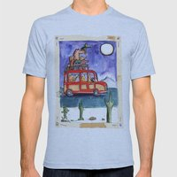 Dogs On Vacation: Mens Fitted Tee Athletic Blue SMALL