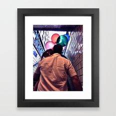 The girl of the subway  Framed Art Print