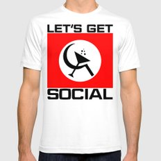 Let's Get Social Mens Fitted Tee SMALL White