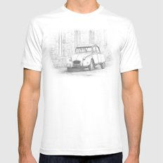 Citroen 2 CV - Deux Chevaux SMALL White Mens Fitted Tee
