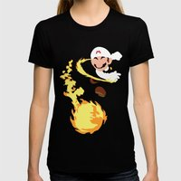 Mario - Fire Flower Mari… Womens Fitted Tee Black SMALL
