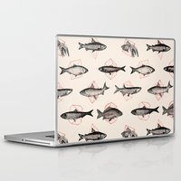 triangle Laptop & iPad Skins featuring Fishes In Geometrics (Red) by Florent Bodart / Speakerine
