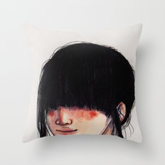 Girl with the Fringe Throw Pillow
