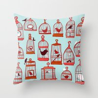 Bird Cages on Blue Throw Pillow