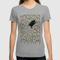 Jungle Dinosaur Womens Fitted Tee Athletic Grey SMALL