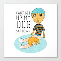 click to zoom  can't get up my dog sat down Canvas Print