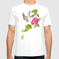 sparrow and peony Mens Fitted Tee White SMALL