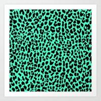 Neon Mint Leopard Art Print