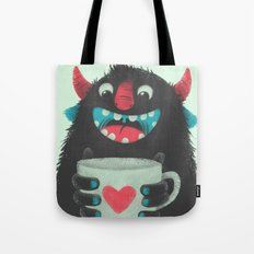 Demon with a cup of coffee Tote Bag