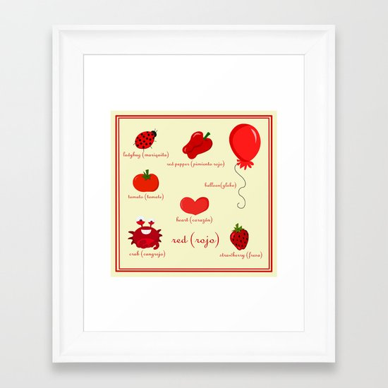 Colors: red (los colores: rojo) Framed Art Print