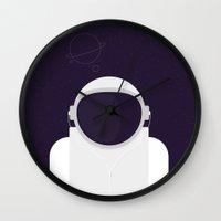 Astronaut is listening music Wall Clock
