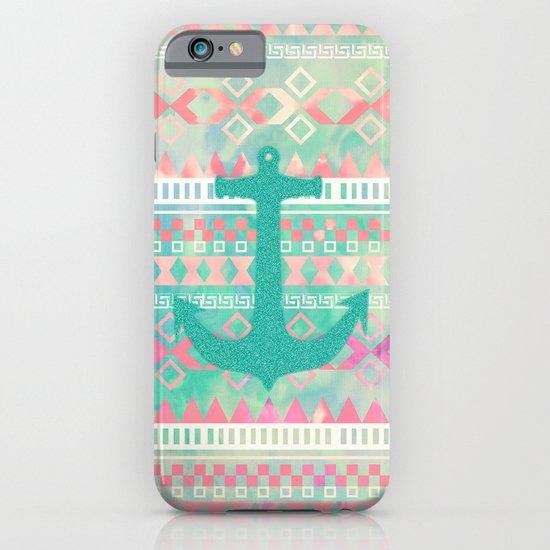 Sailing Aztec   Emerald Nautical Anchor Pastel Watercolor Aztec iPhone & iPod Case