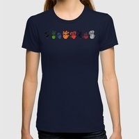 Teacups Border Womens Fitted Tee Navy SMALL