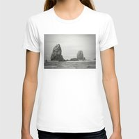 Sea Stacks (Cannon Beach, Oregon) Womens Fitted Tee White SMALL