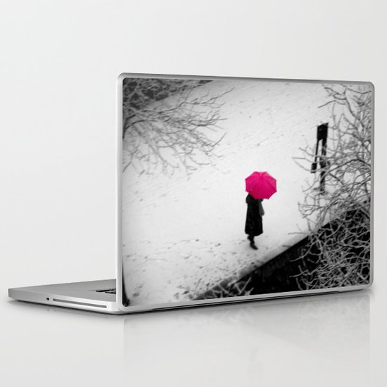One wild pink umbrella about to jump over the river... Laptop & iPad Skin