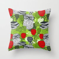 Owls and rose. Throw Pillow