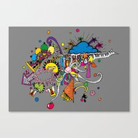 Canvas Print featuring Colored Doodle by Duru Eksioglu