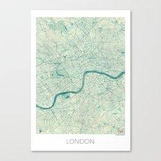 London Map Blue Vintage Canvas Print